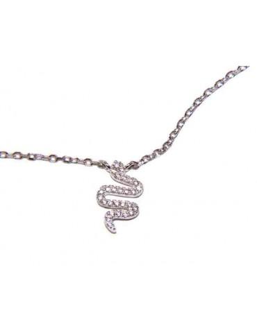 NALBORI 925 silver necklace with central snake