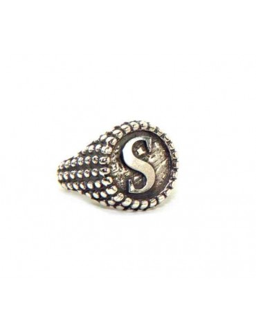 Ring Silver 925 chevalier shield adjustable letter S NALBORI