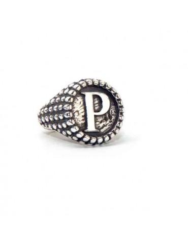 NALBORI Ring Silver 925 chevalier shield adjustable letter P