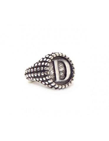 NALBORI Ring Silver 925 chevalier shield adjustable letter D