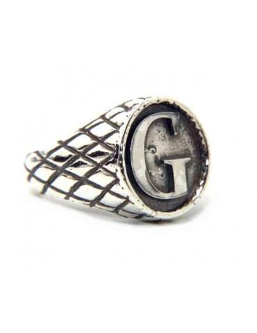 NALBORI Ring Silver 925 chevalier shield adjustable letter G