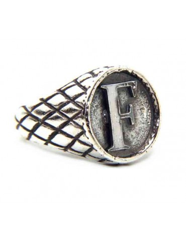 NALBORI Ring Silver 925 chevalier shield adjustable letter F