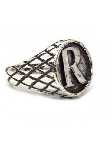 NALBORI Ring Silver 925 chevalier shield adjustable letter R