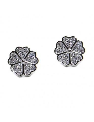NALBORI 925 silver four-leaf clover and zircon earrings