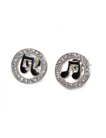 Orecchini argento 925 a bottone note musicali e zirconi bianchi