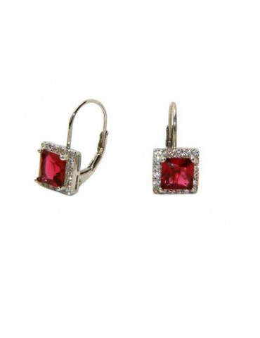 925 sterling silver women's earrings with ruby square