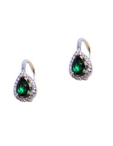 NALBORI Nun earrings in 925 silver emerald green drop