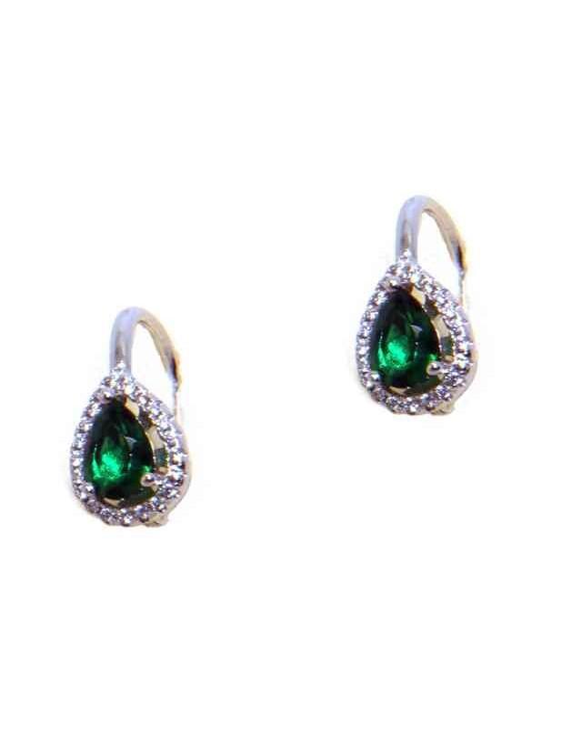 NALBORI Orecchini a monachella in argento 925 goccia verde emerald