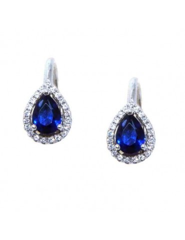 NALBORI Nun earrings in 925 silver sapphire blue drop