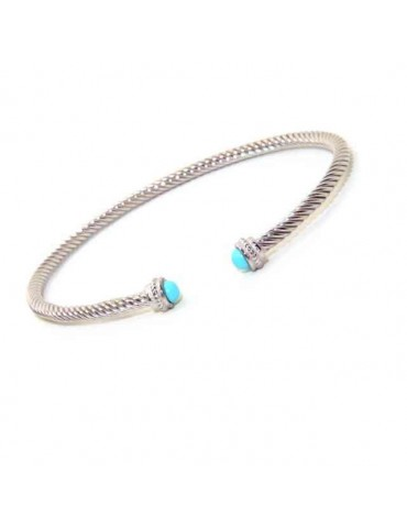 NALBORI Cable open rigid bracelet with turquoise