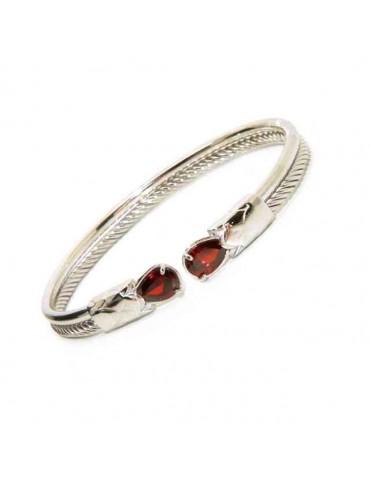 NALBORI Cable rigid cable bracelet open with red rubin zircon