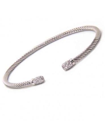 NALBORI cable 925 silver bracelet open wire rigid zircon slave stones