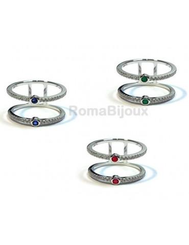 Argento 925 Rodiato : fedina anello a doppio filo con zirconcini bianchi e pietra blu verde rossa