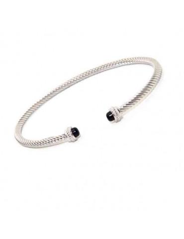 NALBORI Cable open rigid bracelet with onyx