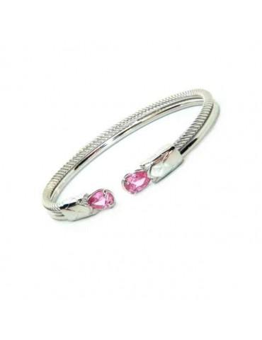 NALBORI Cable rigid cable bracelet open with rose zircon