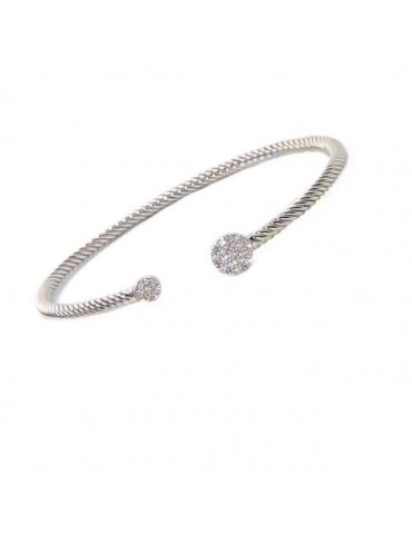 NALBORI Cable open rigid cable bracelet with zircon disc