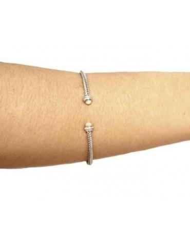 Linea Cable bracciale cavetto rigido aperto con madreperla