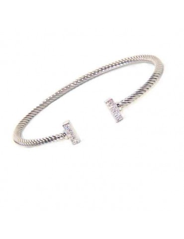 NALBORI Cable open rigid cable bracelet with cubic zirconia bars