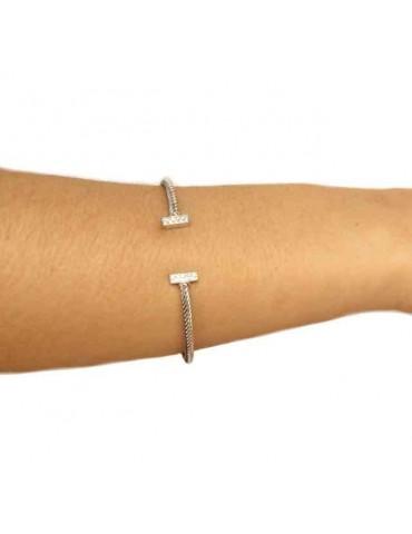 NALBORI Cable bracciale cavetto rigido aperto con barrette di zirconi
