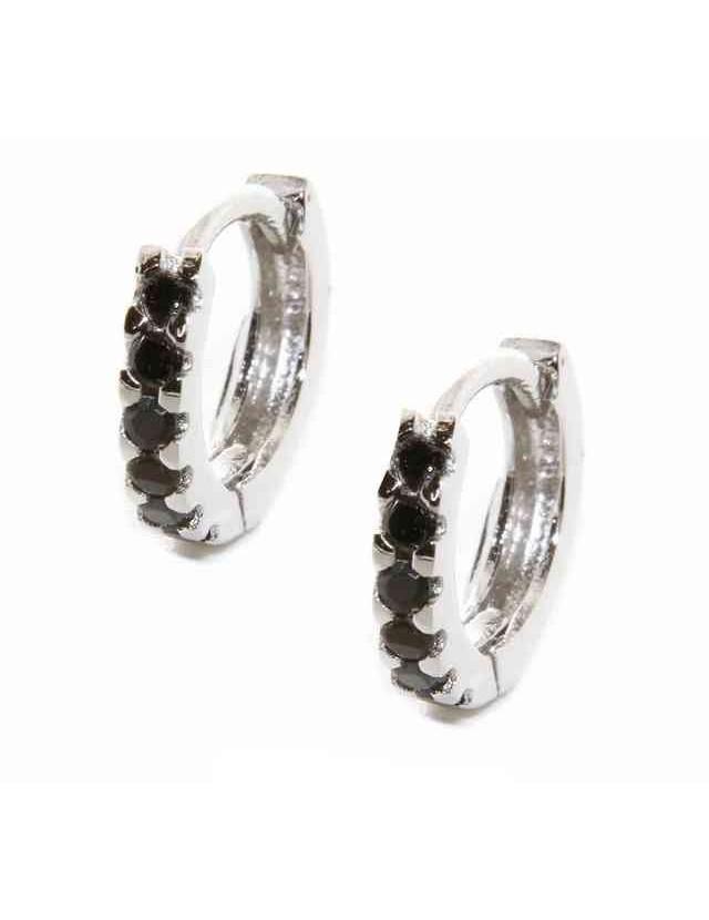 Argento 925 : orecchini donna uomo anelle cerchi piccoli 12,5 mm zirconi neri bianchi scattino rodiati