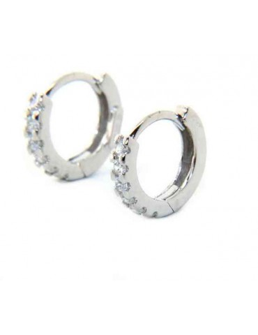 silver 925 : earrings woman man anelle small hoop 12.5 mm zirconia  whites