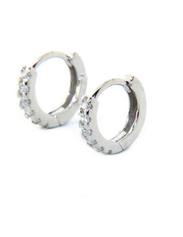 Argento 925 orecchini cerchi piccoli 12,5 mm zirconi  bianchi scattino
