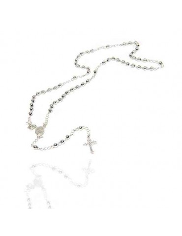 NALBORI Rosary necklace in 925 sterling silver with balls 4 mm 50 cm