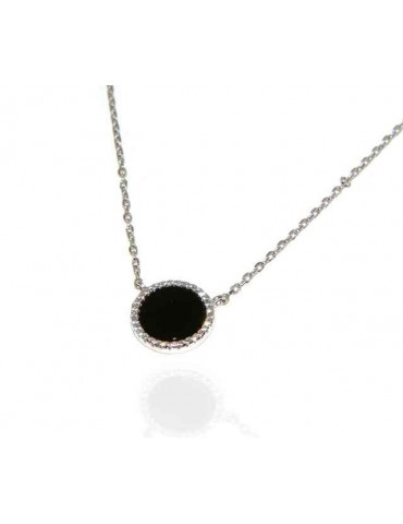Silver 925: Collier necklace woman black onyx stone round 12.5 mm