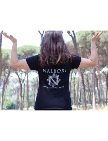 NALBORI Black V-neck sweater with print on the back 100% cotton