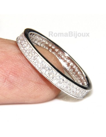 Silver 925 Rhodium: Eternity record to crown all around with 2 rows cubic zirconia 1.0mm brilliant cut