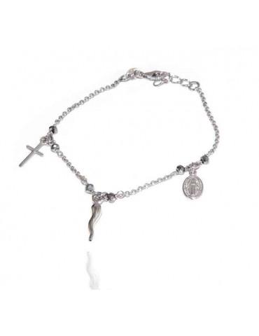 NALBORI Bracciale rosario in Argento 925 madonna cornetto croce grigio
