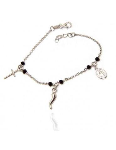 NALBORI Bracciale rosario in Argento 925 madonna cornetto croce nero