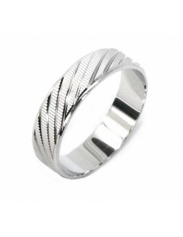 Silver 925: Solid diamond ring faith 6 mm oblique for men or women