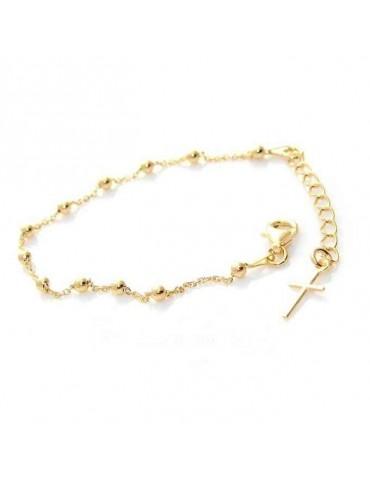 Bracciale rosario uomo o donna in Argento 925 croce liscia rod Oro giallo 16,50 - 20 cm