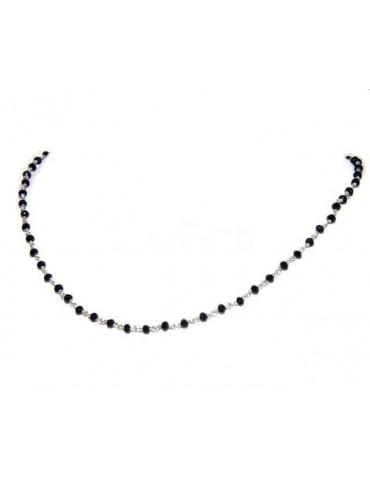 Collana uomo donna Argento 925 Con cristallo nero 3,5 mm lavorazione rosario marsigliese fatta a mano 40+5