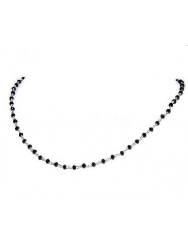 Man woman necklace Silver 925 with black crystal 3.5 mm working rosary Marseille handmade 40 + 5