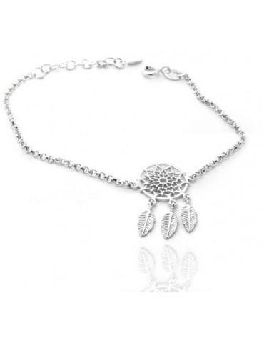 Argento 925 , bracciale donna ragazza cerchio e piume acchiappasogni acchiappa sogni dreamcatcher 15-19 cm