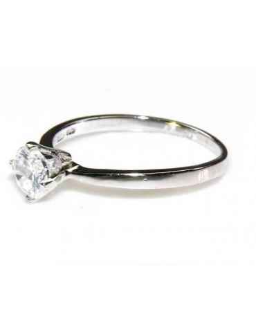 silver 925 Rhodium: Solitaire with zircon 5.5mm brilliant cut