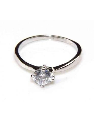 anello solitario argento 925 con zircone da 5,5 mm - so55mm