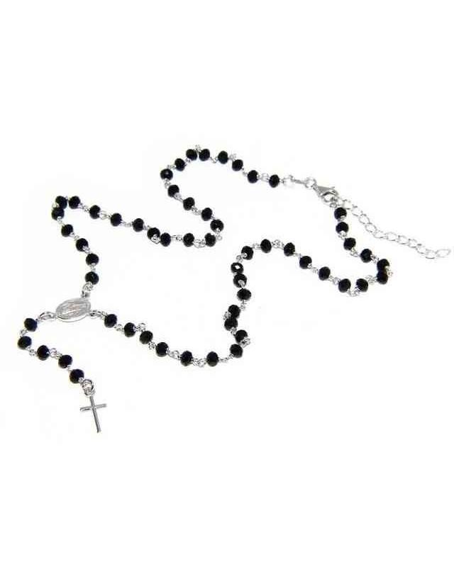 Collana Rosario uomo Argento 925 Con cristallo nero schiacciato 4mm croce e madonna 45+5