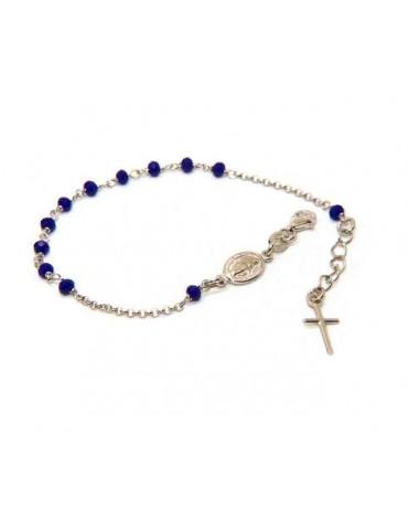 Bracciale rosario in Argento 925 ovale madonna , croce e cristallo blu 16,00 19,00 cm