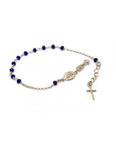 NALBORI Rosary bracelet in 925 silver oval madonna, cross and blue crystal 16.00 19.00 cm