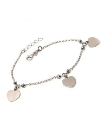 Bracciale donna argento 925 con ciondoli cuore e cristallo ematite