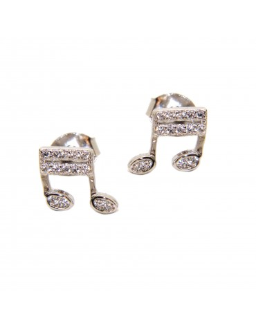 Musical note lobe earrings in 925 silver and white zircons