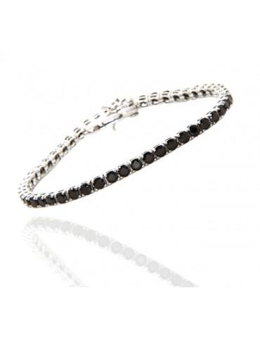 NALBORI cavigliera o bracciale tennis argento 925 zircone nero 3 mm