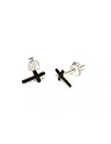 925 silver and black enamel cross earrings nalbori