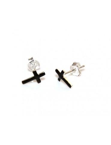nalbori orecchini croci smalto nero argento 925