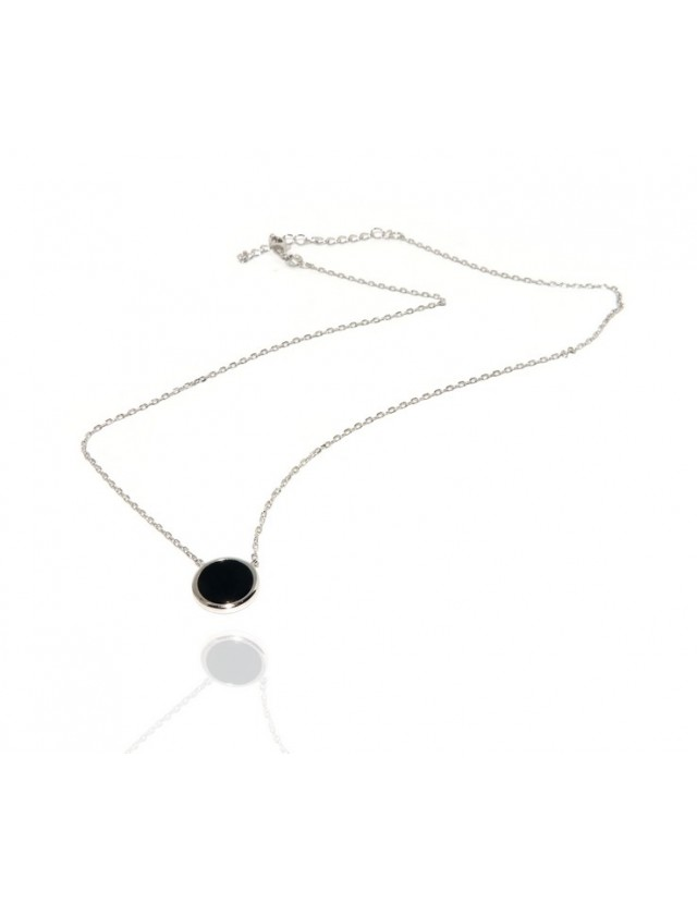 NALBORI collier donna argento 925 onice nero bottone 12,5 mm
