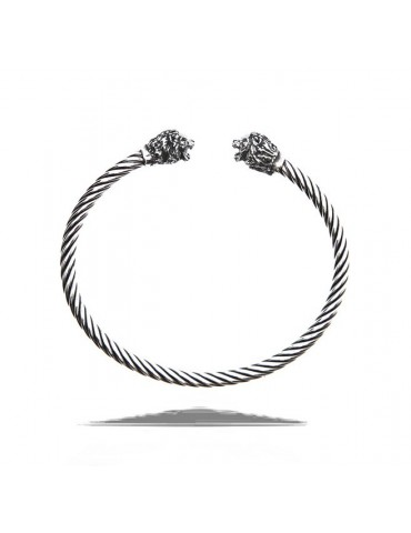 NALBORI Cable open rigid cable bracelet with lion leo zodiac