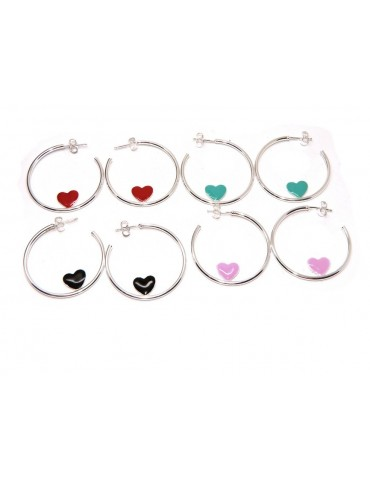 925 silver hoop earrings with enameled heart 3.5 cm nalbori